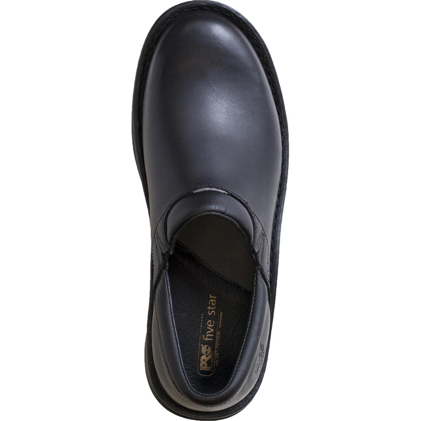 timberland pro s slip resistant black leather slip on