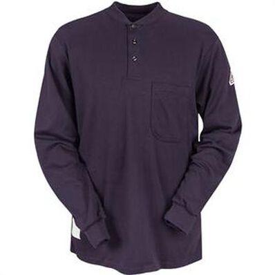 Bulwark Flame Resistant Long Sleeve Henley Collar Shirt, , large