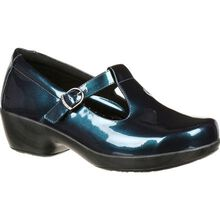 4Eursole Comfort 4Ever Women's Metallic Blue T-Strap Shoe