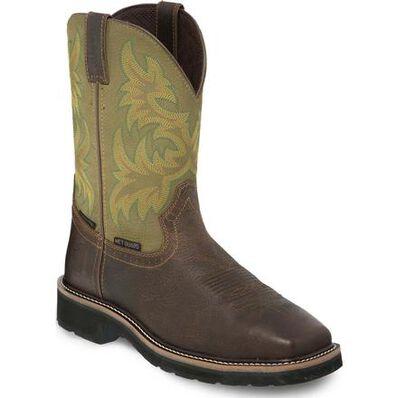 Justin Original Workboots Stampede Steel Toe Internal Met Guard Waterproof Western Work Boot, , large