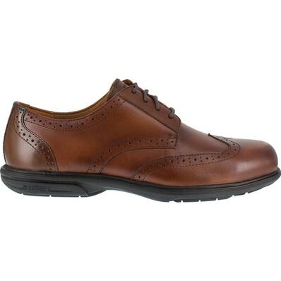 Florsheim Work Loedin Men's Steel Toe Static-Dissipative Brown Leather Dress Oxford, , large