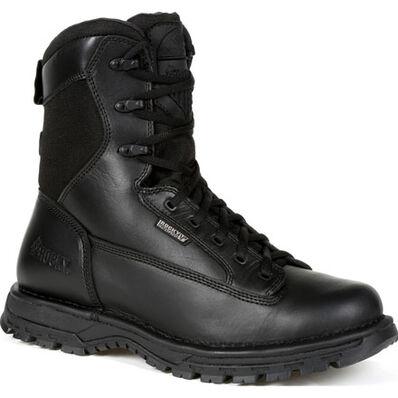 """Rocky Portland 8"""" Black Side Zip Waterproof Public Service Boot, , large"""