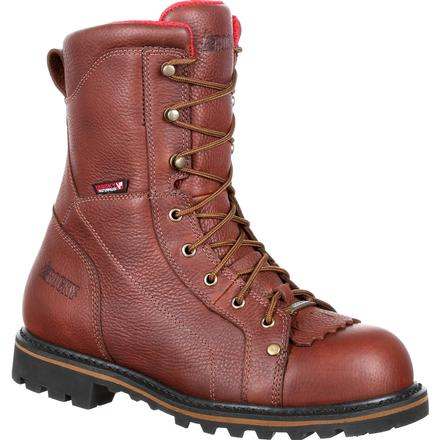 Rocky Three Cut Logger Steel Toe Waterproof Work Boot, , large
