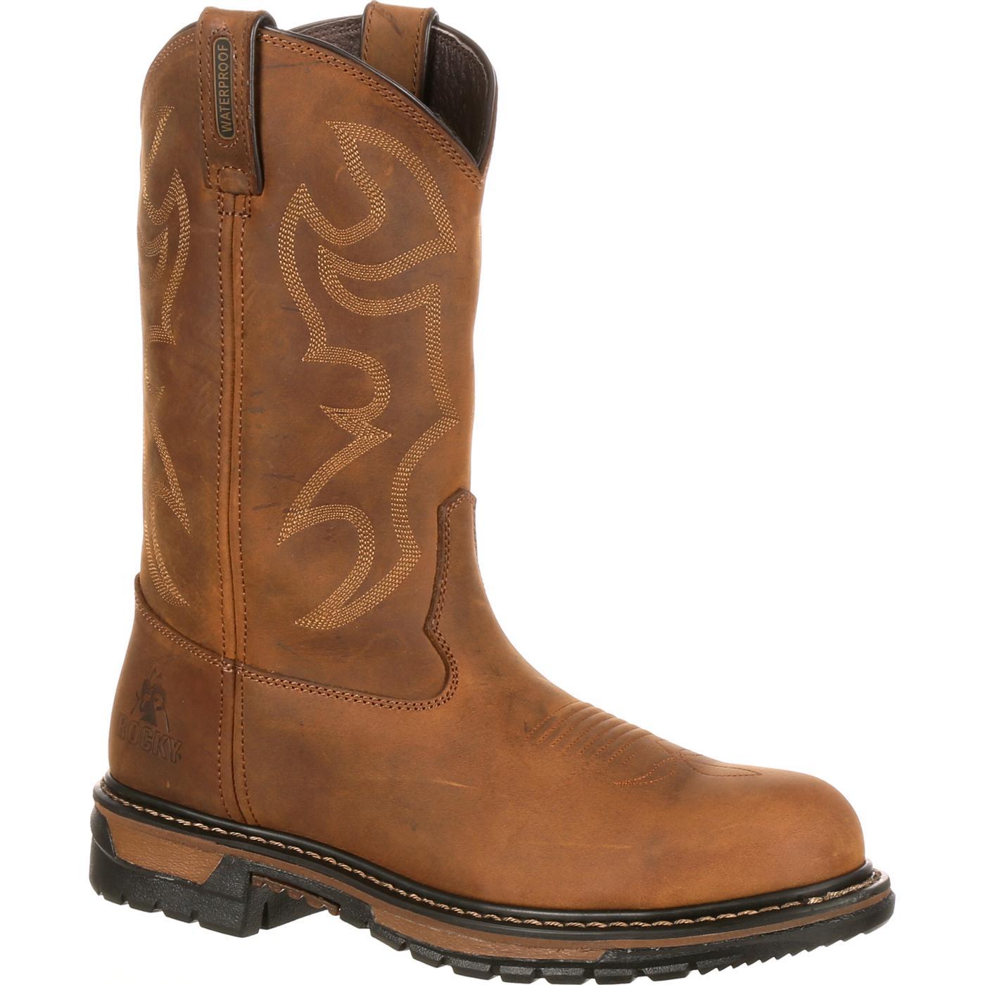 Men S Waterproof Steel Toe Western Boot Rocky Original Ride