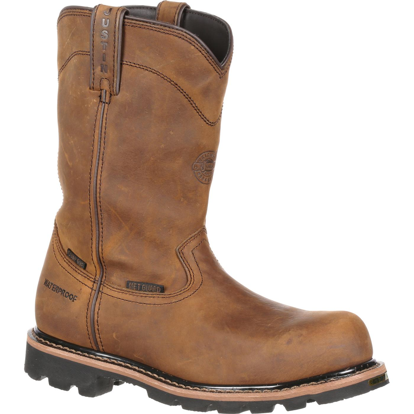 cdd776205dc Justin Work Worker II™ Pulley Composite Toe Internal Met Guard Waterproof  Western Work Boot