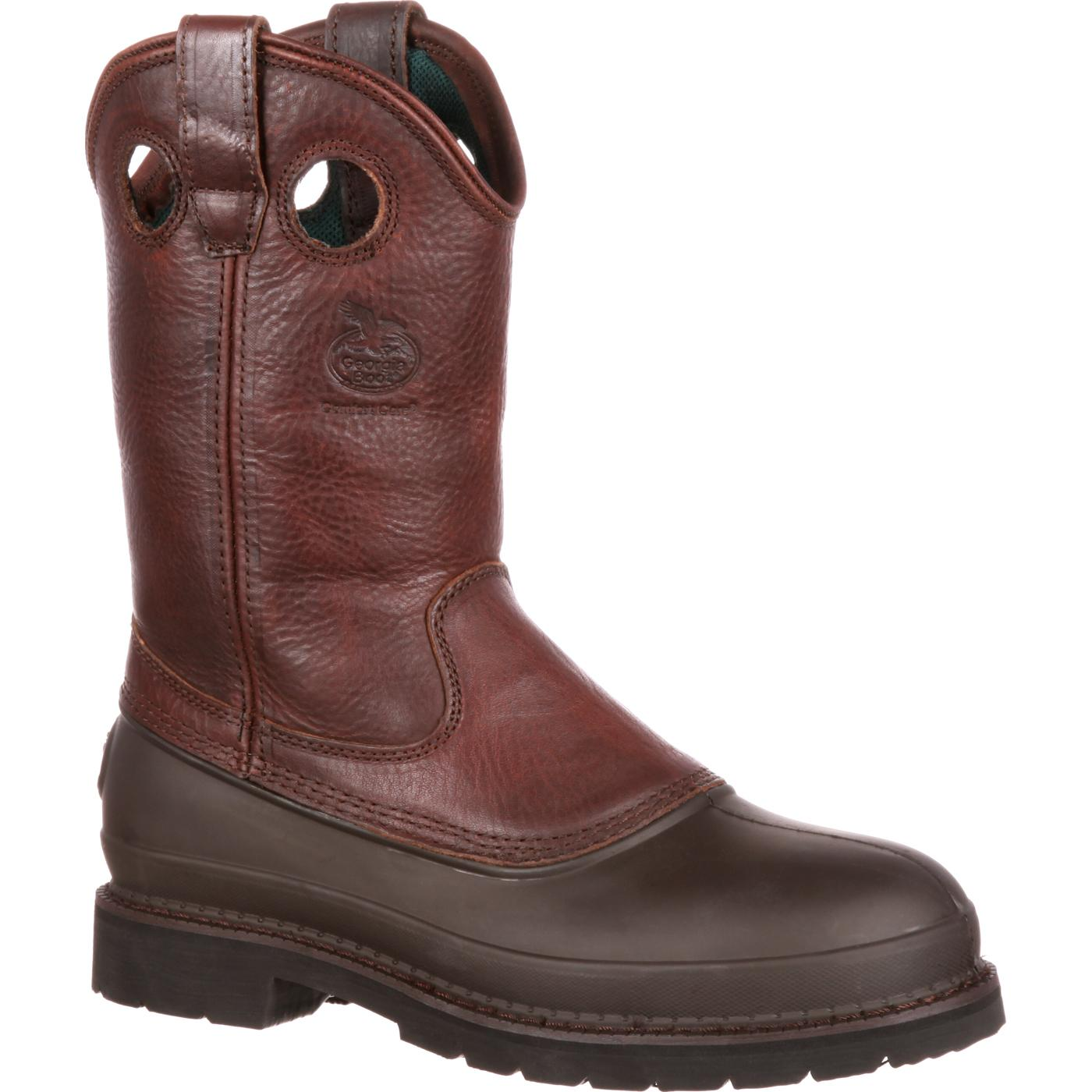 Genuine Georgia Boot G5353 Men W Round Toe Leather Brown Work Boot Mens Brown Georgia Boot Mens Boots