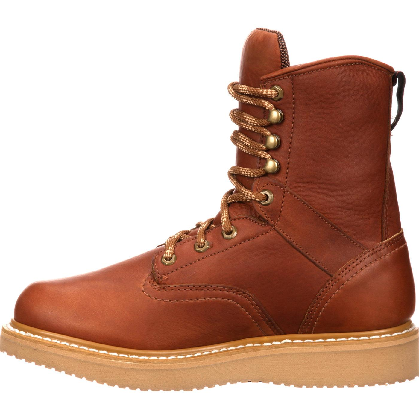 s 8 quot leather work boots with wedge sole boot