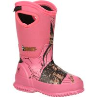 Rocky Core Big Kids' Pink Camo Waterproof 400G Insulated Rubber Boot, , medium