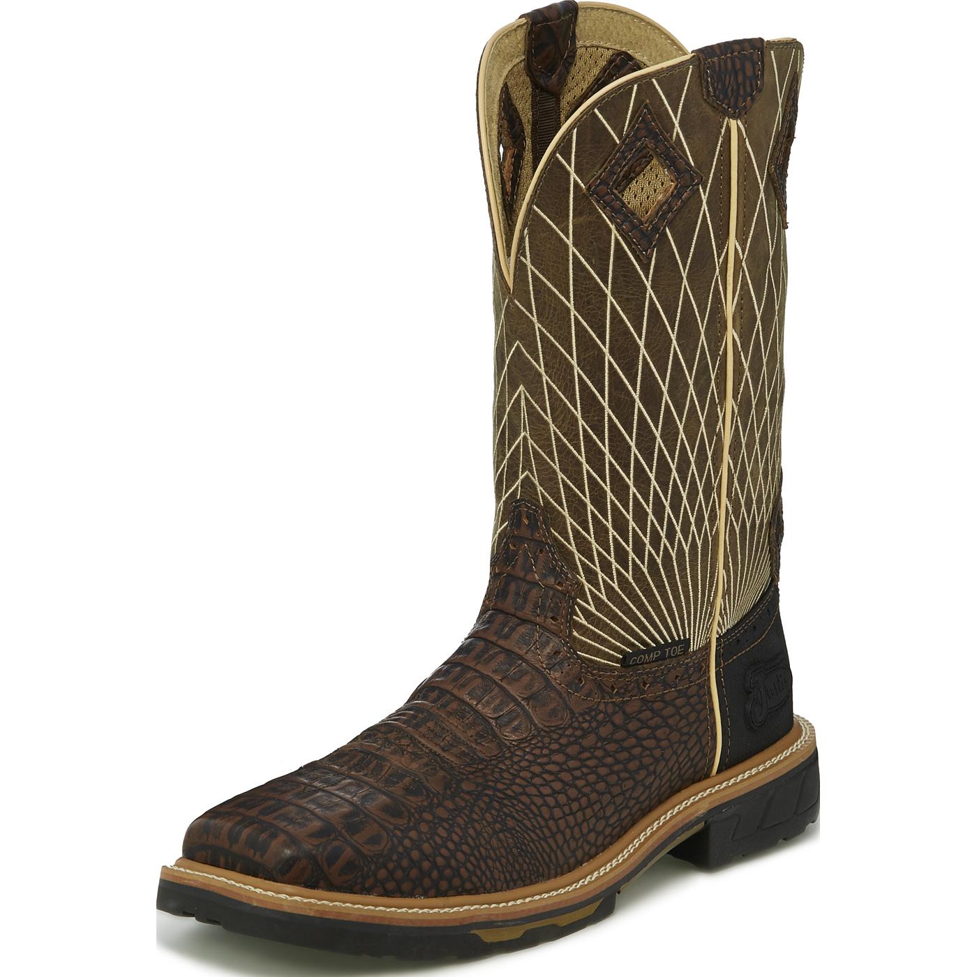 8d2472ab395 Justin Work Hybred® Derrickman Croc Print Men's 12 inch Composite Toe  Electrical Hazard Pull-on Western Work Boots
