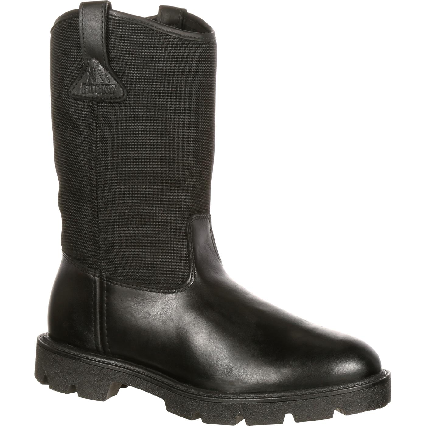 Men S Black Duty Pull On Wellington Boot Rocky Fq0006300