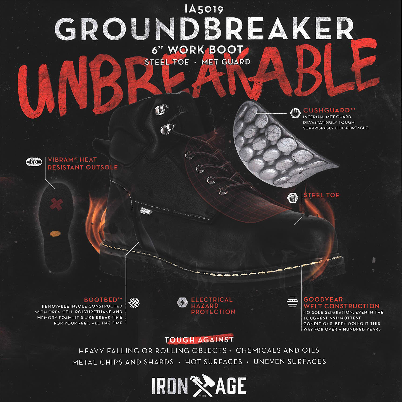 e7df8eb1032 Iron Age Groundbreaker Men's 6 inch Steel Toe Electrical Hazard Internal  Met Guard Work Boot