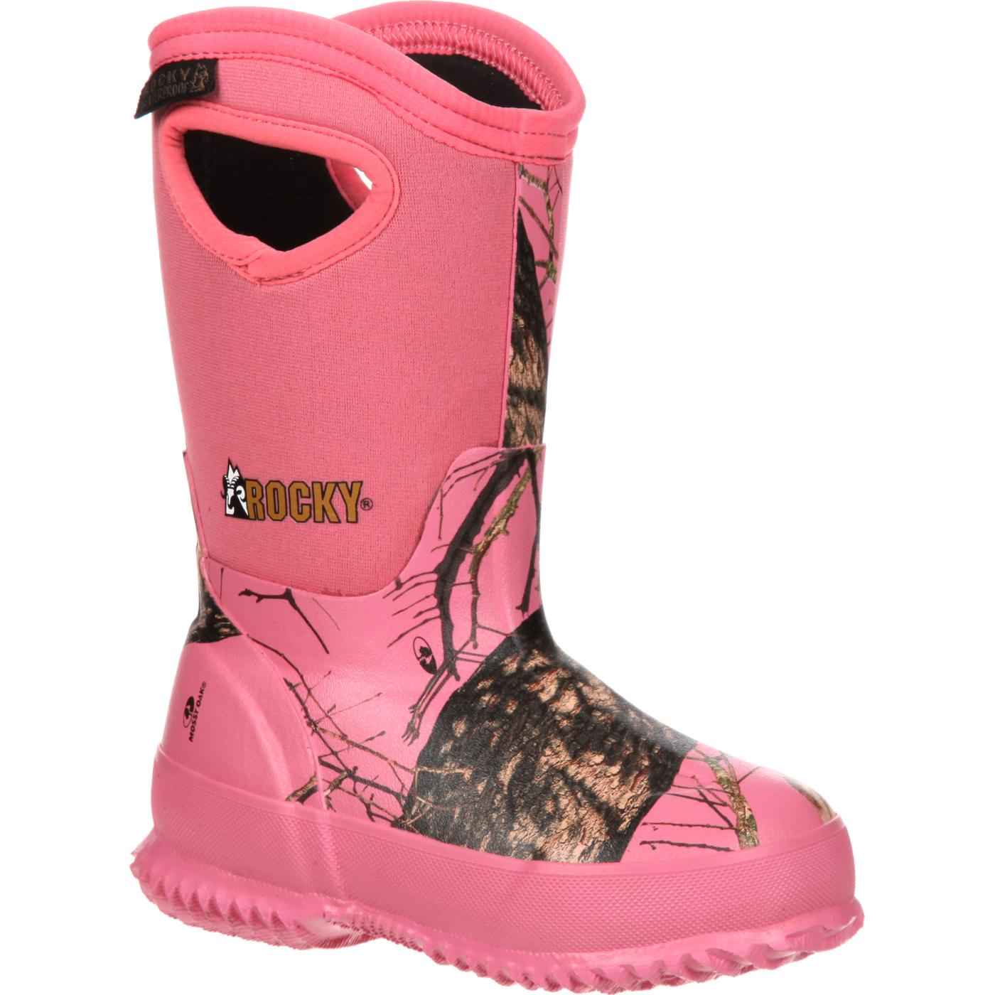 Rocky Core Big Kid Pink Camo Waterproof Insulated Rubber Boot ...