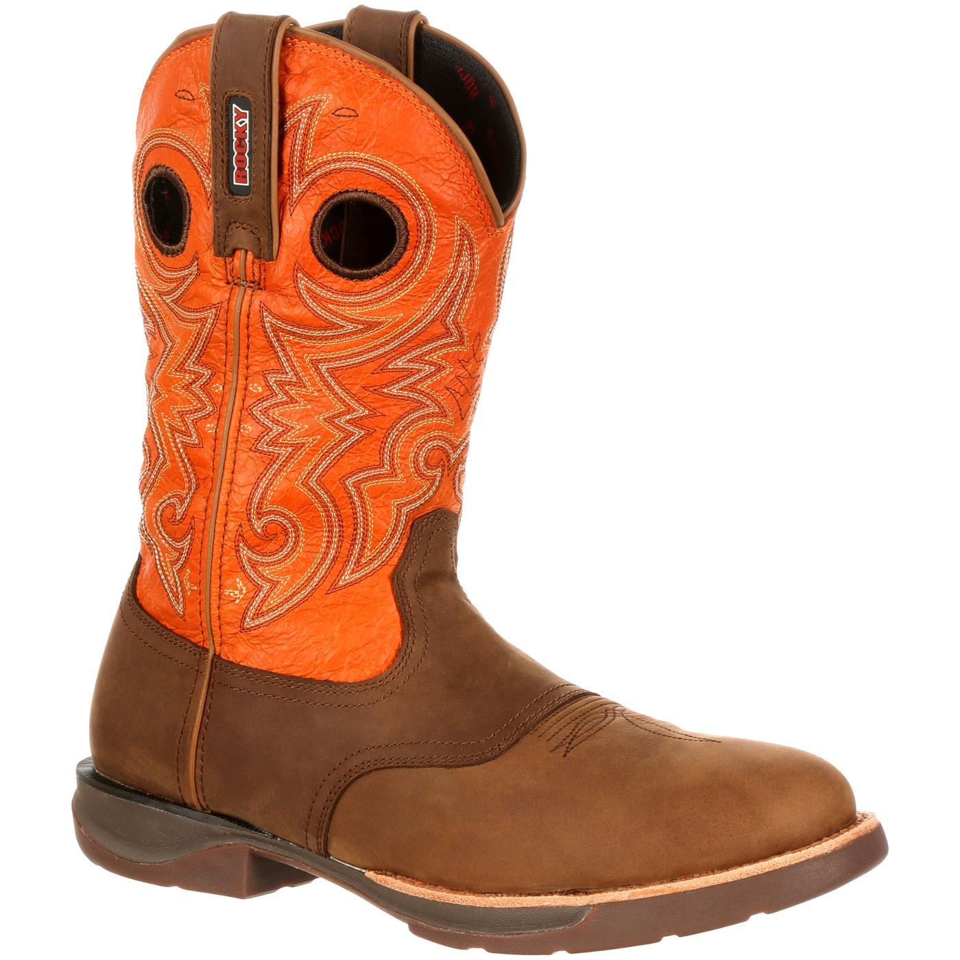 Men S Waterproof Brown Orange Saddle Western Boot Rocky Lt