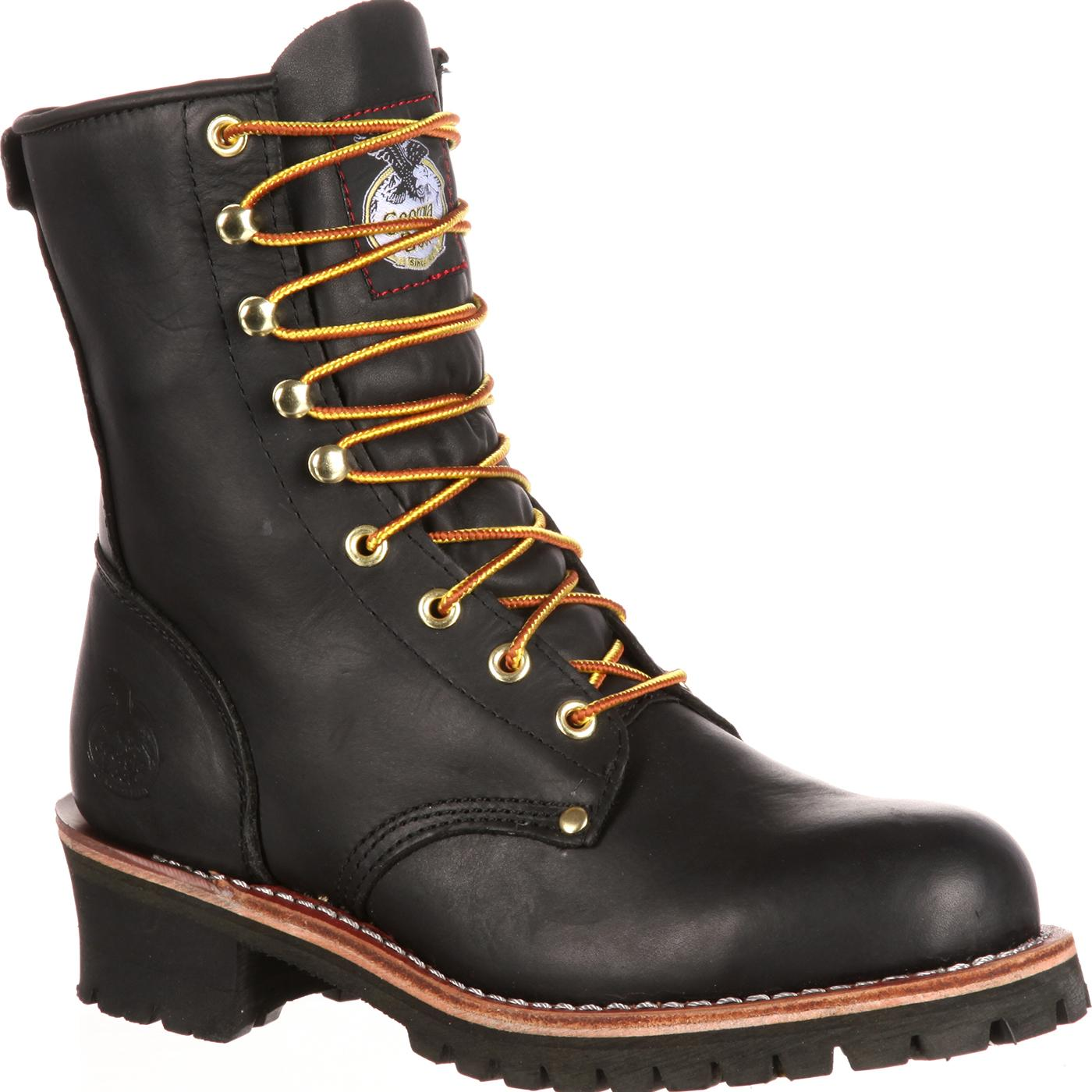 Men S 8 Quot Black Logger Work Boots Georgia Boot Style G8120