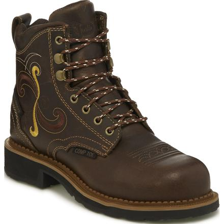 Justin Work Gypsy Women's 6 inch Composite Toe Electrical Hazard Waterproof Western Lacer Work Boot