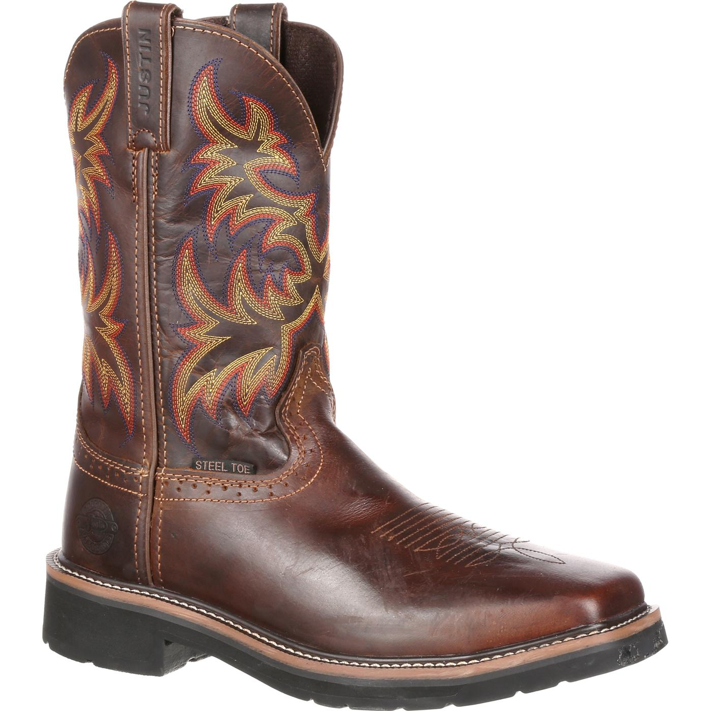 ce38cf28e04 Justin Work Stampede Driller Steel Toe Western Work Boot
